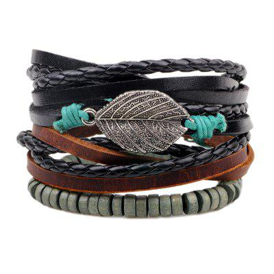 Buy MULTICOLOR 3 Pcs Alloy Leaves Hand Woven Bracelet for $6.34 in GearBest store
