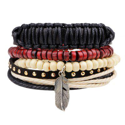 Buy MULTICOLOR 4 Pcs Hand-Woven Feather Leather Bracelet for $6.34 in GearBest store