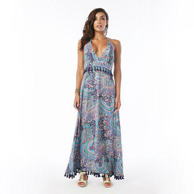 Beauty Garden Printed Bohemian Dress Trimmed with Tassel