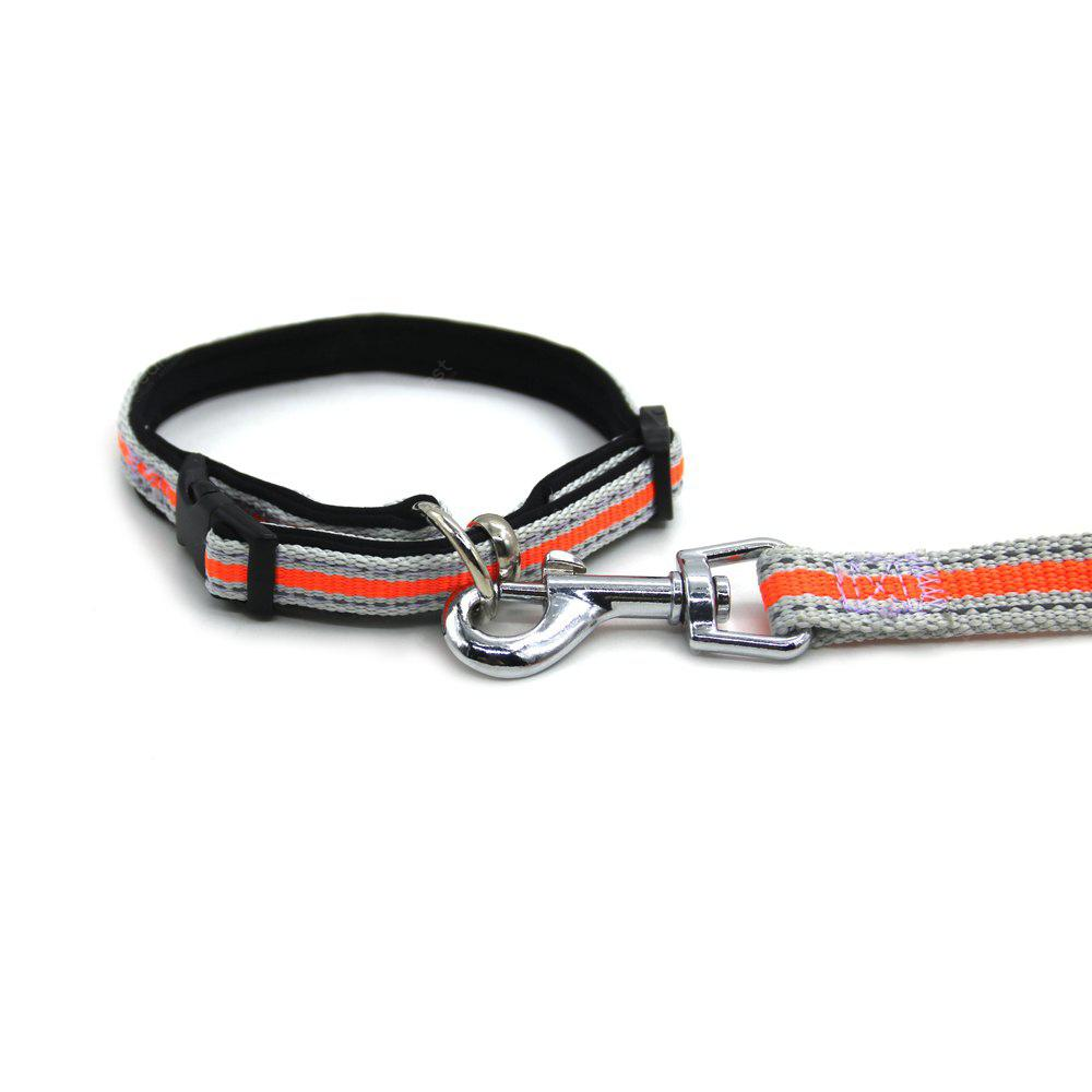 ORANGE S Lovoyager LVHA165164 Reflective Fluorescent Pet Dog Adjustable Collar Leash Soft Elastic Leashes For Running Jogging Walking