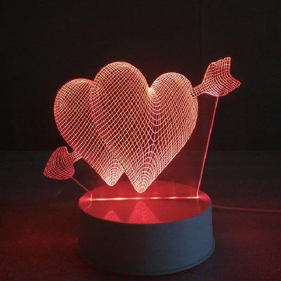 Cupid Hearts Night Light Touch 3D LED Table Desk Lamp