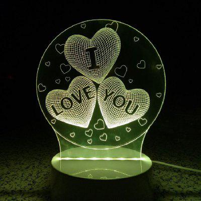 Heart I Love You Night Light Touch 3D LED Table Desk Lamp