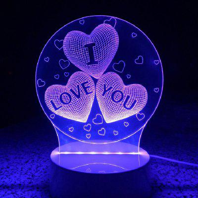 Heart I Love You Night Light Touch 3D LED Table Desk Lamp3D Lamps<br>Heart I Love You Night Light Touch 3D LED Table Desk Lamp<br><br>Battery Quantity: 1<br>Color Temperature or Wavelength: RGB<br>Connector Type: USB<br>Features: Remote Controlled<br>Light Source Color: Remote control 7-Color<br>Light Type: LED,LED Night Light,Night Light,Table Lamp<br>Mini Voltage: 12V<br>Package Contents: 1 x Lampholder, 1 x Acrylic Glass Panel, 1 x 4 Key Remote Control, 1 x Switch Usb Power Cord (1.3m)<br>Package size (L x W x H): 25.00 x 17.00 x 7.00 cm / 9.84 x 6.69 x 2.76 inches<br>Package weight: 0.3800 kg<br>Power Source: USB charging<br>Product size (L x W x H): 20.00 x 15.00 x 9.00 cm / 7.87 x 5.91 x 3.54 inches<br>Product weight: 0.3100 kg<br>Quantity: 1<br>Style: Artistic Style<br>Wattage: Other