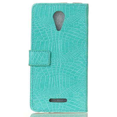 Wkae Crocodile Skin Pattern Leather Folio Stand Case Soft Silicone Cover with Card Slots for WIKO Tommy 2