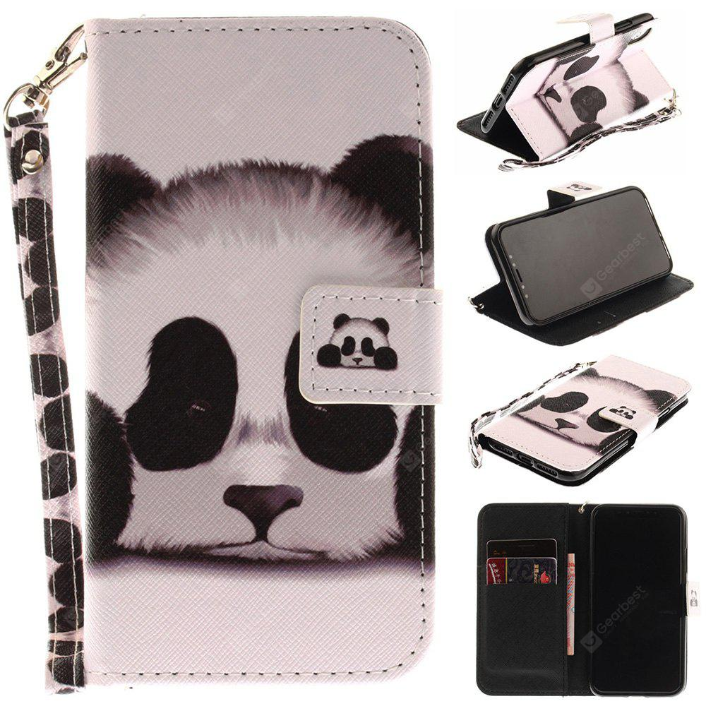 Panda Pattern Wrist Strap Premium Flip Wallet Protective Case Card Slots Pu+Tpu Leather Folio Magnetic Closure Stand Cover for Iphone x