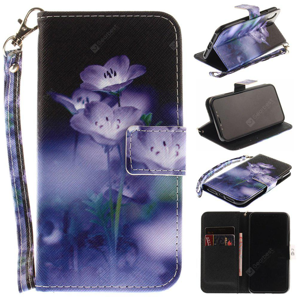 Blue-Flowering Pattern Wrist Strap Premium Flip Wallet Protective Case Card Slots Pu+Tpu Leather Folio Magnetic Closure Stand Cover for Iphone x