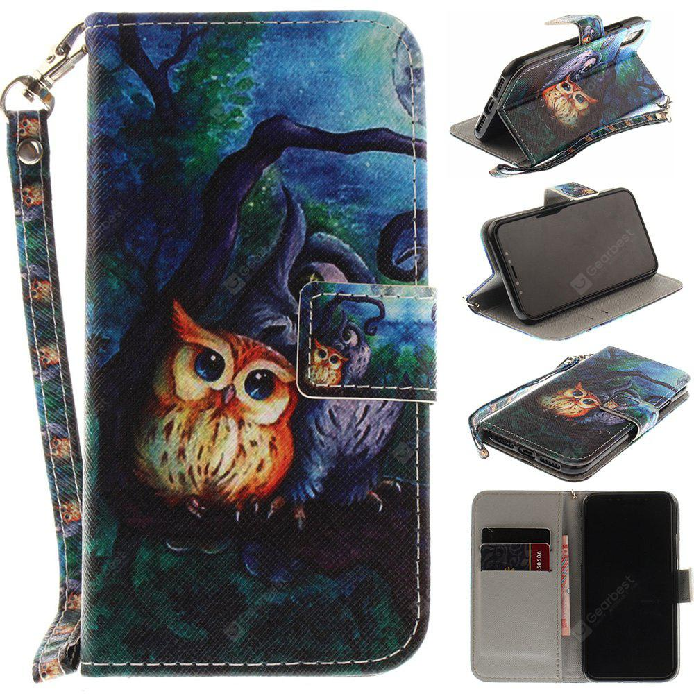 Oil Painting Owl Pu+Tpu Leather Wallet Case with Card Holder/Magnetic Closure Flip Cover for Iphone x