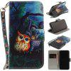 Oil Painting Owl Pu+Tpu Leather Wallet Case with Card Holder/Magnetic Closure Flip Cover for Iphone x - BLACK