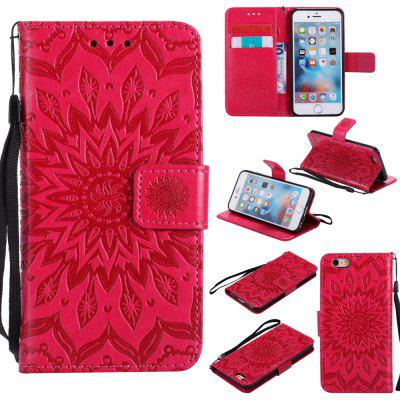 Buy RED Yanxn Sun Flower Printing Design Pu Leather Flip Wallet Lanyard Protective Case for iPhone 6/6S for $5.82 in GearBest store