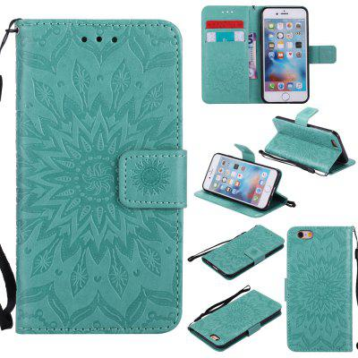 Buy GREEN Yanxn Sun Flower Printing Design Pu Leather Flip Wallet Lanyard Protective Case for iPhone 6/6S for $5.82 in GearBest store
