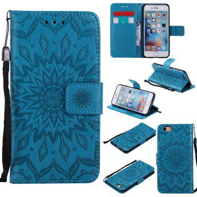 Buy BLUE Yanxn Sun Flower Printing Design Pu Leather Flip Wallet Lanyard Protective Case for iPhone 6/6S for $5.82 in GearBest store