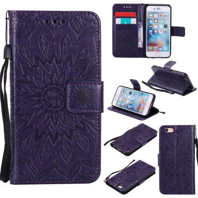 Buy PURPLE Yanxn Sun Flower Printing Design Pu Leather Flip Wallet Lanyard Protective Case for iPhone 6/6S for $5.82 in GearBest store