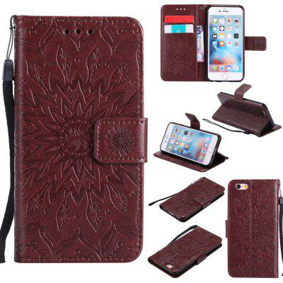 Buy BROWN Yanxn Sun Flower Printing Design Pu Leather Flip Wallet Lanyard Protective Case for iPhone 6/6S for $5.82 in GearBest store