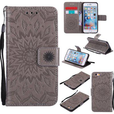 Buy GRAY Yanxn Sun Flower Printing Design Pu Leather Flip Wallet Lanyard Protective Case for iPhone 6/6S for $5.82 in GearBest store