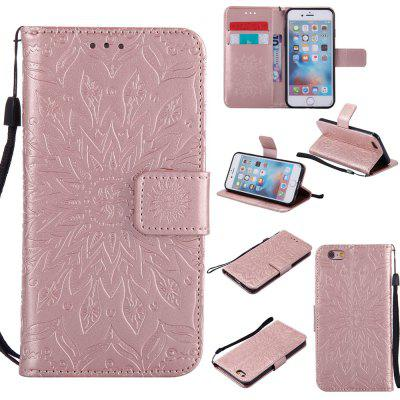 Buy ROSE GOLD Yanxn Sun Flower Printing Design Pu Leather Flip Wallet Lanyard Protective Case for iPhone 6/6S for $5.82 in GearBest store