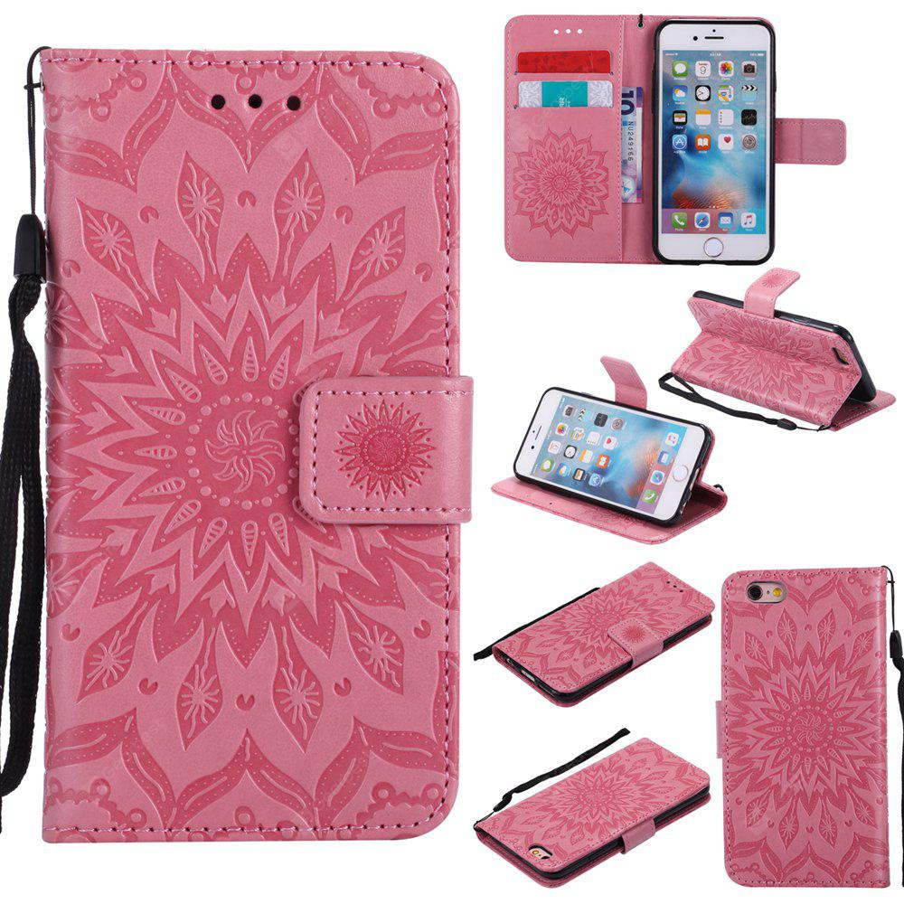 PINK Yanxn Sun Flower Printing Design Pu Leather Flip Wallet Lanyard Protective Case for iPhone 6/6S