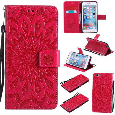 Buy RED Yanxn Sun Flower Printing Design Pu Leather Flip Wallet Lanyard Protective Case for iPhone 6 Plus/6S Plus for $7.41 in GearBest store
