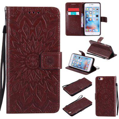 Buy BROWN Yanxn Sun Flower Printing Design Pu Leather Flip Wallet Lanyard Protective Case for iPhone 6 Plus/6S Plus for $7.41 in GearBest store