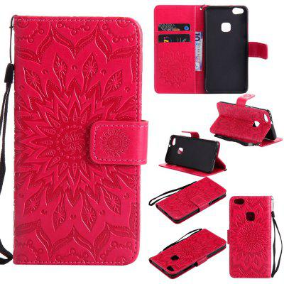 Buy RED Yanxn Sun Flower Printing Design Pu Leather Flip Wallet Lanyard Protective Case for Huawei P10 Lite for $6.48 in GearBest store