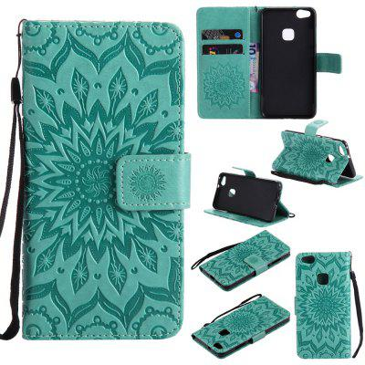 Buy GREEN Yanxn Sun Flower Printing Design Pu Leather Flip Wallet Lanyard Protective Case for Huawei P10 Lite for $6.48 in GearBest store