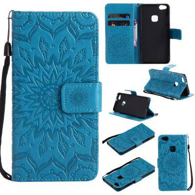 Buy BLUE Yanxn Sun Flower Printing Design Pu Leather Flip Wallet Lanyard Protective Case for Huawei P10 Lite for $6.48 in GearBest store