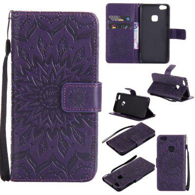 Buy PURPLE Yanxn Sun Flower Printing Design Pu Leather Flip Wallet Lanyard Protective Case for Huawei P10 Lite for $6.48 in GearBest store
