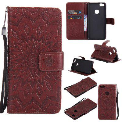Buy BROWN Yanxn Sun Flower Printing Design Pu Leather Flip Wallet Lanyard Protective Case for Huawei P10 Lite for $6.48 in GearBest store