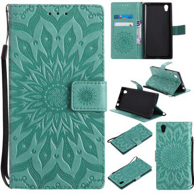Buy GREEN Yanxn Sun Flower Printing Design Pu Leather Flip Wallet Lanyard Protective Case for Sony Xperia L1 for $6.48 in GearBest store