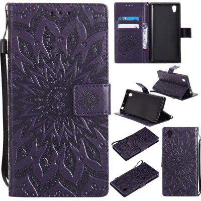 Buy PURPLE Yanxn Sun Flower Printing Design Pu Leather Flip Wallet Lanyard Protective Case for Sony Xperia L1 for $6.48 in GearBest store