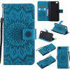 Yanxn Sun Flower Printing Design Pu Leather Flip Wallet Lanyard Protective Case for Xiaomi Mi5 - BLUE