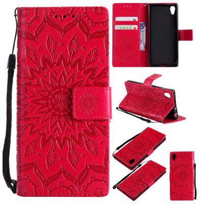 Buy RED Yanxn Sun Flower Printing Design Pu Leather Flip Wallet Lanyard Protective Case for Sony Xperia XA1 for $6.48 in GearBest store