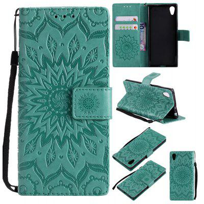 Buy GREEN Yanxn Sun Flower Printing Design Pu Leather Flip Wallet Lanyard Protective Case for Sony Xperia XA1 for $6.48 in GearBest store