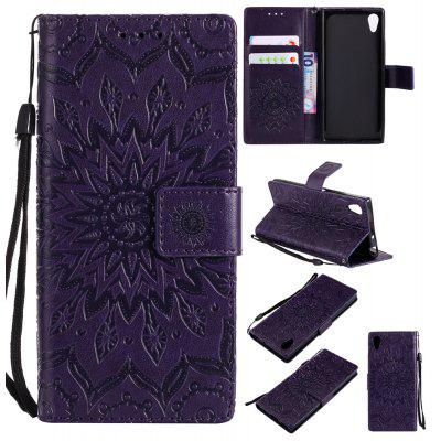 Buy PURPLE Yanxn Sun Flower Printing Design Pu Leather Flip Wallet Lanyard Protective Case for Sony Xperia XA1 for $6.48 in GearBest store