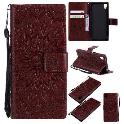 Buy BROWN Yanxn Sun Flower Printing Design Pu Leather Flip Wallet Lanyard Protective Case for Sony Xperia XA1 for $6.48 in GearBest store