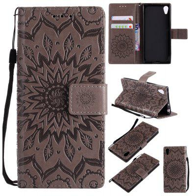 Buy GRAY Yanxn Sun Flower Printing Design Pu Leather Flip Wallet Lanyard Protective Case for Sony Xperia XA1 for $6.48 in GearBest store