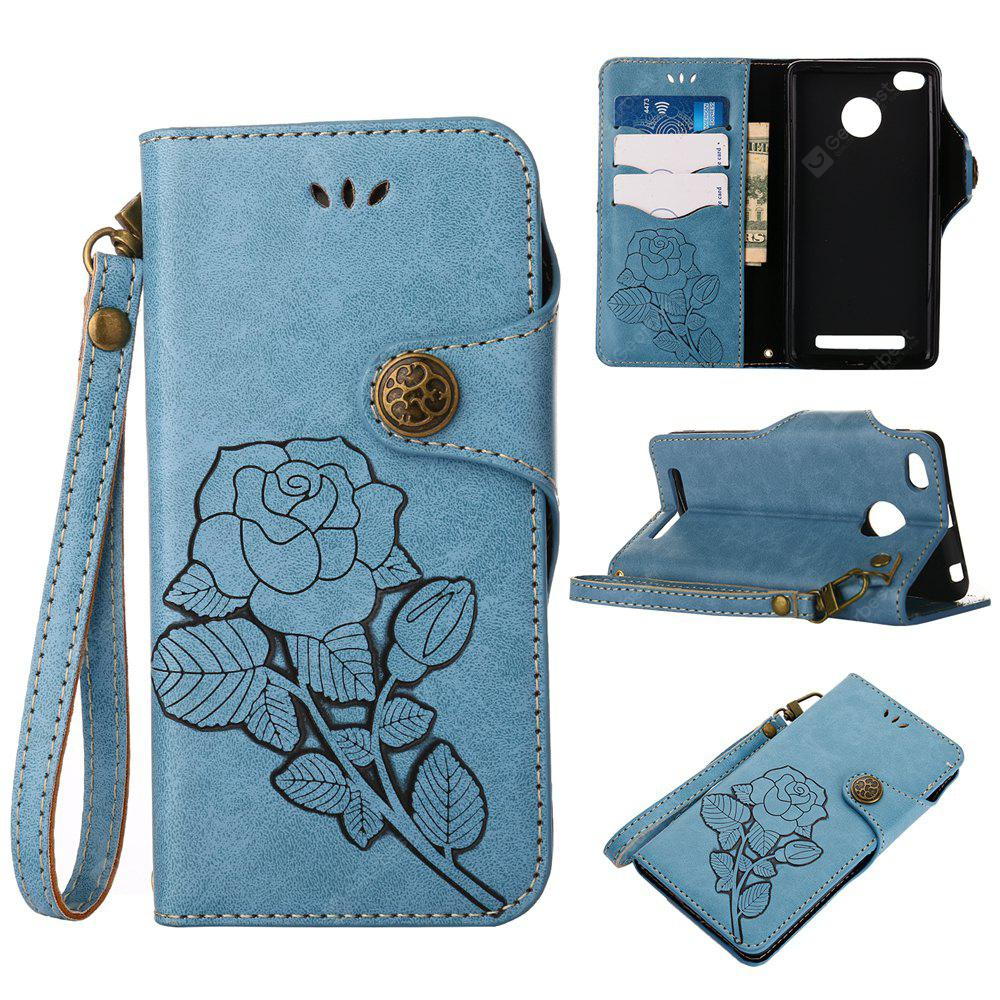 Retro Rose PU Leather Magnetic Closure Flip Wallet Protective Case with Lanyard for Xiaomi Redmi 3S/3 Pro/3 Prime
