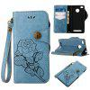 Retro Rose PU Leather Magnetic Closure Flip Wallet Protective Case with Lanyard for Xiaomi Redmi 3S/3 Pro/3 Prime - BLUE