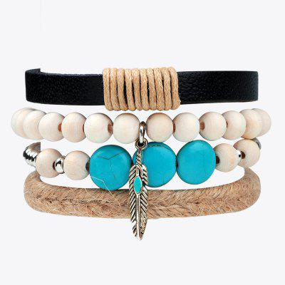 Buy MULTICOLOR 4 Pcs Alloy Feather Leather Hand Woven Bracelet for $6.48 in GearBest store