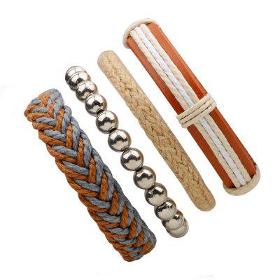 Buy MULTICOLOR Hemp Rope Leather Hand Woven Bracelets 4 Pcs for $8.73 in GearBest store