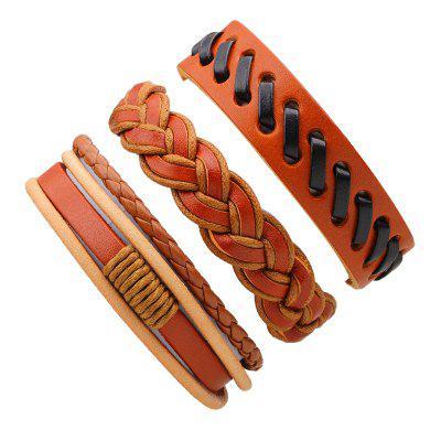 3 Pcs Vintage Braided Leather Bracelet Male