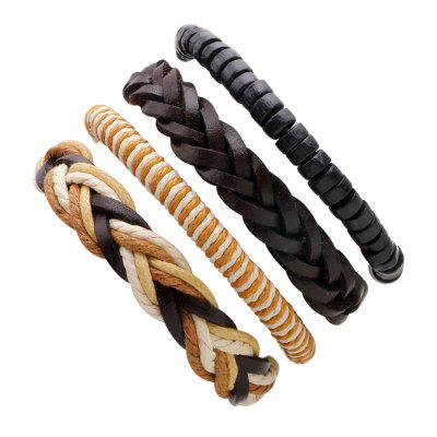 Buy MULTICOLOR 4 Pcs Cowhide Rope Winding Woven Leather Bracelet for $6.62 in GearBest store