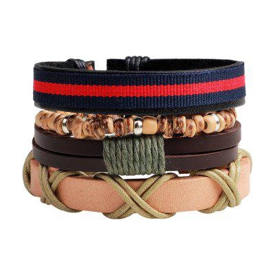 Buy MULTICOLOR 4 Pcs Vintage Diy Rope Woven Leather Bracelet for $6.76 in GearBest store