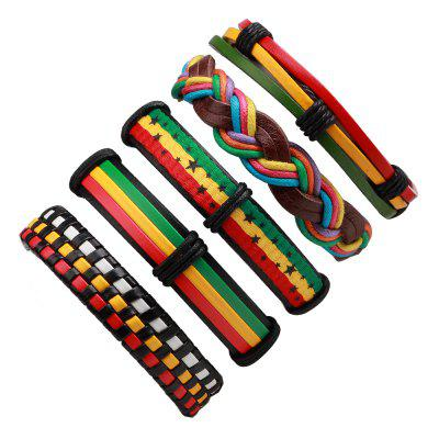 Buy MULTICOLOR 5 Pcs Colorful Wax Rope Woven Manual Leather Bracelet for $8.73 in GearBest store