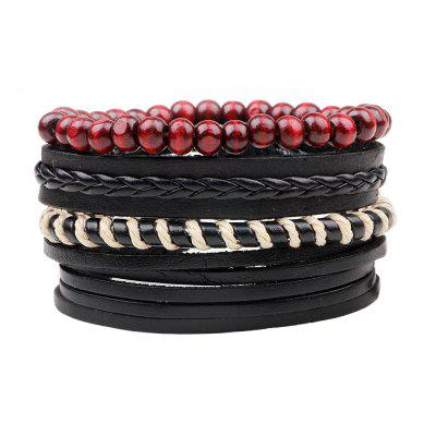 Buy MULTICOLOR 4 Pcs Rope Wax Hand Woven Leather Bracelets for $6.76 in GearBest store