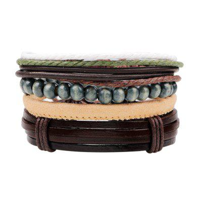 Buy MULTICOLOR 4 Pcs Fashion Hand-Woven Leather Bracelet for $6.76 in GearBest store