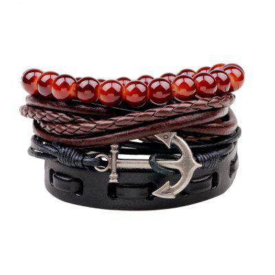 Buy MULTICOLOR 4 Pcs Vintage Anchor Hand Woven Bracelet for $7.09 in GearBest store