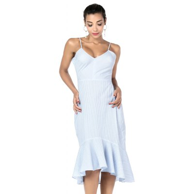 Buy LIGHTBLUE L Beauty Garden Women Summer Striped Ruffle V Neck Dress Sleeveless Lace Up Sexy Casual Club Dress Backless Vintage Dress for $31.32 in GearBest store