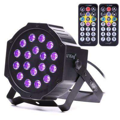 Buy BLACK U`King 18W 18 Led Purple Par Light Stage Effect Lighting with 2 Remote Control for $29.62 in GearBest store
