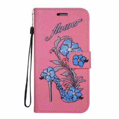 Buy PINK Flash Powder Dyed Silk Printed Rattan High Heels Pu Phone Case for Samsung Galaxy J3 2016 / 2015 for $7.02 in GearBest store