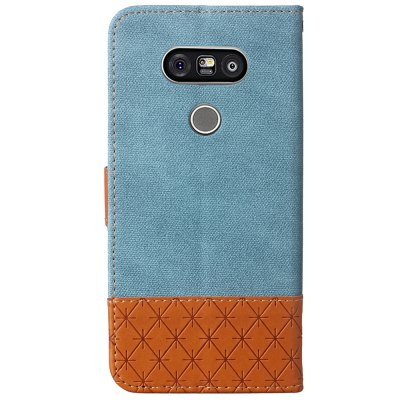 Jeans Texture Pattern Stitching PU Leather Wallet Case for LG G5Cases &amp; Leather<br>Jeans Texture Pattern Stitching PU Leather Wallet Case for LG G5<br><br>Compatible Model: LG G5<br>Features: Cases with Stand, With Credit Card Holder, With Lanyard<br>Mainly Compatible with: LG<br>Material: TPU, PU Leather<br>Package Contents: 1 x Phone Case<br>Package size (L x W x H): 18.00 x 11.00 x 3.00 cm / 7.09 x 4.33 x 1.18 inches<br>Package weight: 0.1500 kg<br>Product weight: 0.1000 kg<br>Style: Vintage, Mixed Color